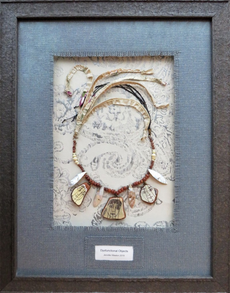 feminist art by woman artist of mixed media necklace for Northern Fringe art exhibition Sheffield
