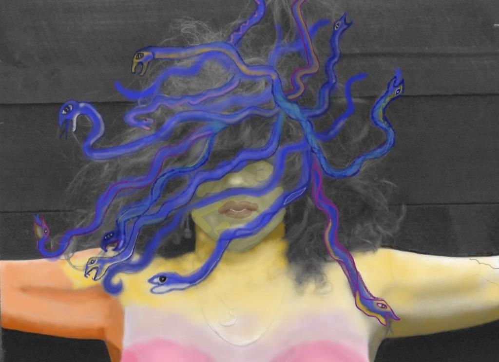 head of Medusa colourful art digital image