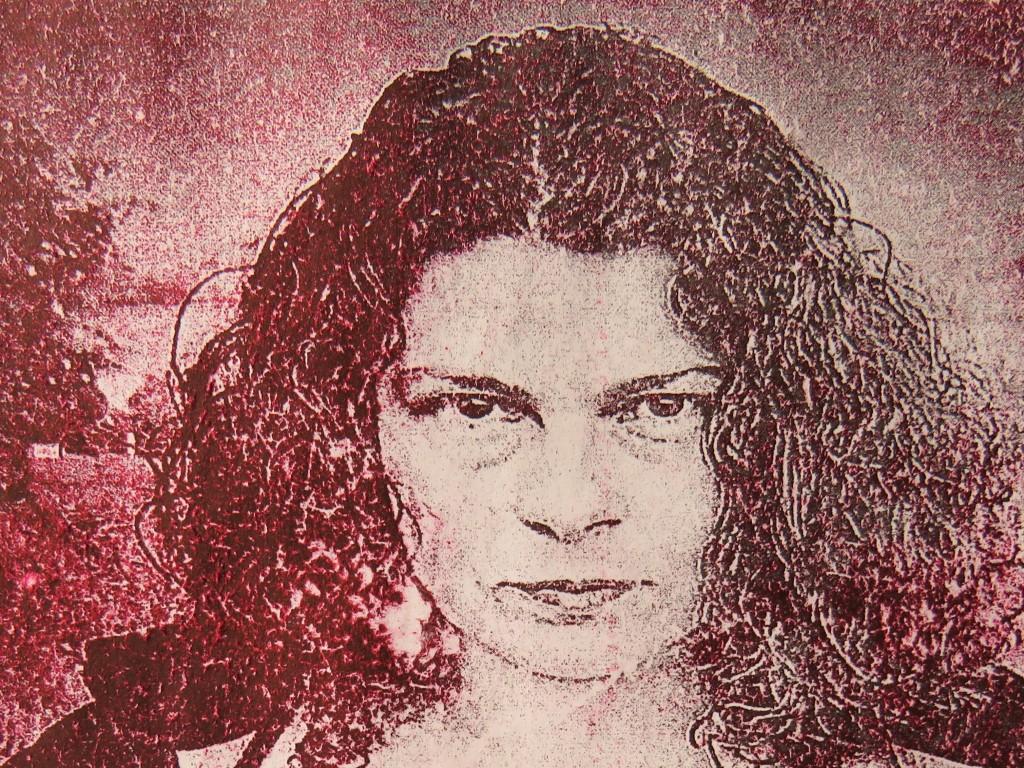 Red tone printed art image of Jennifer Weston